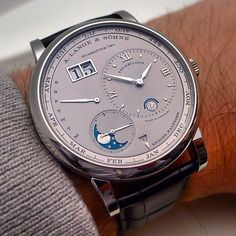 There is #horology outside Switzerland too : A. LANGE & SOHNE, Lange One Tourbillon Perpetual Calendar. From Germany with love. A superb example of time piece with extreme movement decoration. #ALANGEUNDSOHNE