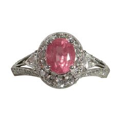 Beautifully Elegant Unheated PADPARADSCHA Sapphire Diamond Ring from Divine Finds Jewelry at RubyLane.com
