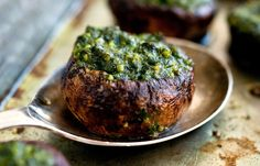 Make burgers with big portobellos tossed with olive oil and basil, then stuffed with pesto or stuff smaller portobellos with pesto and roasted them. Or do both.