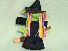 Toddler Girls Hair Bow Clippy  Happy Witch by MyBabyBowtique, $5.00