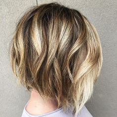 Bob haircut with blonde highlights