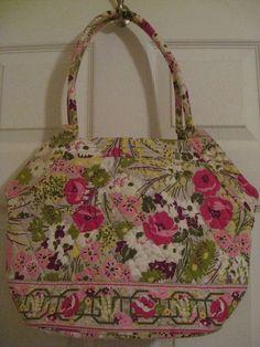 Vera Bradley Make Me Blush Angel Purse Tote Pink Green Flowers Rolled Handle #VeraBradley #TotesShoppers