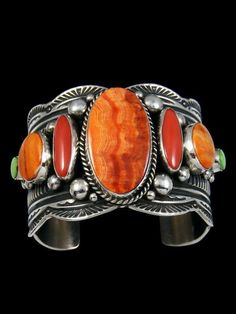 Native American Sterling Silver Coral and Spiny Oyster Bracelet #SterlingSilverNativeAmerican