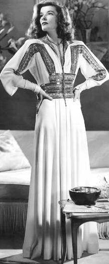 Katharine Hepburn as 'Tracy Lord' - 1940 - Dress by Adrian - The Philadelphia Story - Director: George Cukor - @~ Watsonette