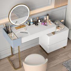 White Makeup Vanity, Bedroom Vanity Set, Bathroom With Makeup Vanity, Makeup Vanity With Storage, Makeup Vanity Desk, Home Decor Bedroom, Desk For Bedroom, Diy Crafts For Home Decor, Vanity Design