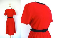 Red and Black Dress // Pleated Skirt by VolereVintage on Etsy, $42.00 #reddress #pleated #redandblack #vintage #vintagedress #volerevintage