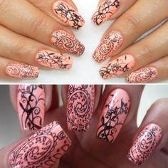 De Nailsvanidosas:  Diseño con estampado. #nail #nails #nailart