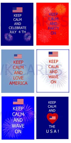 4th of July  KEEP CALM ~Fireworks  &  American Flag ~ Tag Cards