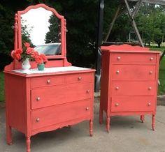 Image result for coral red dresser