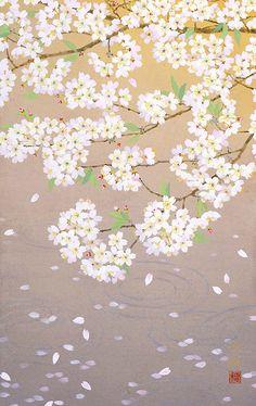 桜舞う 2011年-39-野地美樹子 Painting Prints, Watercolor Paintings, Japanese Art Styles, Cherry Blossom Art, Art Drawings Beautiful, Oriental, Plant Illustration, Japanese Painting, Galaxy Wallpaper