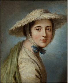 """""""Head of a Girl Wearing a White Hat"""" by William Hoare, c 1760-70.   A flat-crowned hat covered with feathers - very similar to one pinned earlier here, though without the multi-colored patched."""