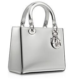 "DIOR   Argent mirror leather ""Lady Dior"" bag"