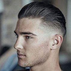 Slicked Back Hair - Best Hairstyles For Men: Cool Popular Men's Hair Cuts and Styles 1940s Mens Hairstyles, Cool Mens Haircuts, Cool Hairstyles For Men, Slick Hairstyles, Barber Haircuts, Really Short Haircuts, Short Hair Cuts, Short Hair Styles, Low Maintenance Haircut