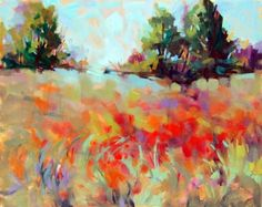 "Swaying Poppy Field by Trisha Adams Oil ~ 24"" x 30"""
