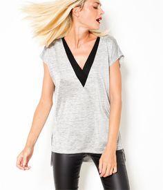 T-shirt maille résille gris clair col noir Camaïeu 2016