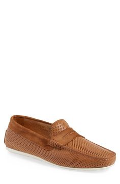 Santoni 'Tanton' Perforated Leather Driving Shoe (Men)