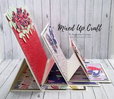 Hi everyone, after I made the Circle Triple Easel Card for my Creative Card Series recently, many of you asked for me to make a square one, so here it is. I really enjoy making these and they are v… Fancy Fold Cards, Folded Cards, Handmade Birthday Cards, Handmade Cards, Birthday Card Design, Anna Griffin Cards, Shaped Cards, Easel Cards, Square Card
