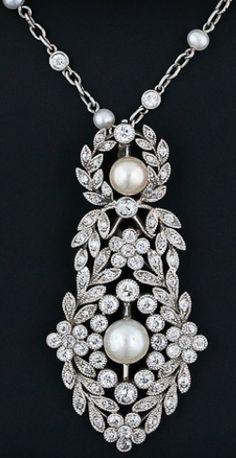 Edwardian J.E. Caldwell Diamond and Pearl Pendant Necklace. ♥✤ | Keep the Glamour | BeStayBeautiful