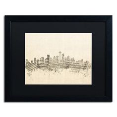 "Trademark Art ""Seattle Skyline Sheet Music"" by Michael Tompsett Framed Graphic Art Size: 16"" H x 20"" W x 0.5"" D"