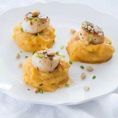Coquilles met zoete aardappelpuree - Leuke recepten Seafood, Eggs, Yummy Food, Fish, Baking, Breakfast, Healthy, Recipes, Drinks