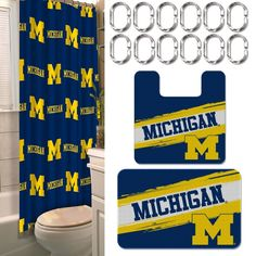 [[start tab]] Description The Michigan Wolverines 15-Piece Bath Set enables all college fans to transform their bathrooms into a real fan-zone! Color-coordinated to match your Wolverines team's bold c