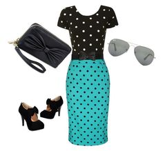 polka dots!! by tonidanny on Polyvore featuring polyvore fashion style Glamorous Ray-Ban clothing