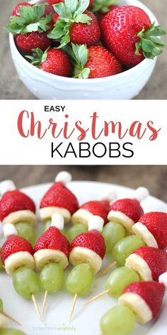 An easy Christmas dessert or snack idea Christmas Kabobs These simple DIY bites couldn t be easier They make a festive addition to any party holiday celebration or gathering or just a fun playdate Kids love em Christmas Desserts Easy, Holiday Snacks, Christmas Party Food, Xmas Food, Christmas Cooking, Holiday Recipes, Simple Christmas, Christmas Popcorn, Christmas Deserts For Kids