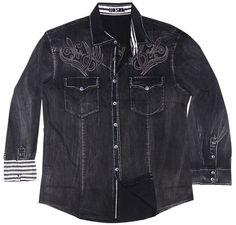 Toku Clothing Black Wash Tribal Embroidery Shirt