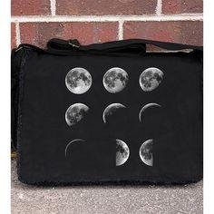 Crawlspace Studios Moon Phases Messenger Bag ($45) ❤ liked on Polyvore featuring bags, messenger bags, laptop courier bag, distressed messenger bag, expandable messenger bag, shoulder strap bag e flap bag