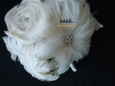 Wedding bridal bouquet feather bouquet ivory bling by eeekdesigns, $285.00