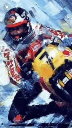 Motorcycle Racers, Motorcycle Posters, Motorcycle Art, Racing Motorcycles, Bike Art, Garage Art, Sportbikes, Old Bikes, Automotive Art