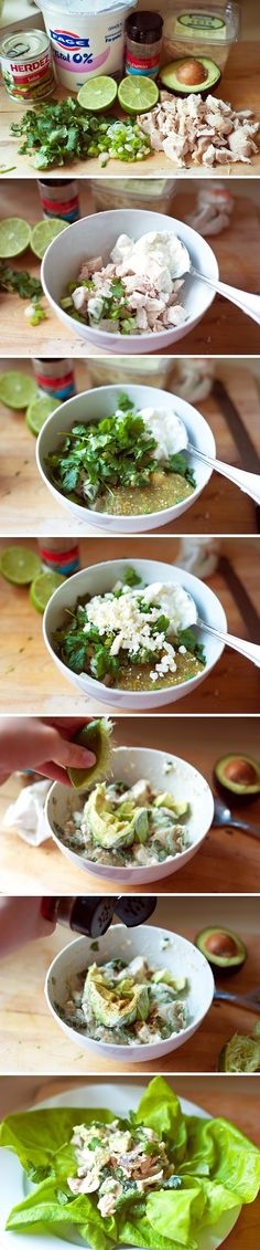 Guacamole Chicken Salad Ingredients 2 cups Leftover Cooked Chicken, Cubed Or Shredded ? cups Whole Plain Greek Yogurt 3 Tablespoons Salsa Verde (or A 4-ounce Can Of Diced Green Chiles) 1 who...