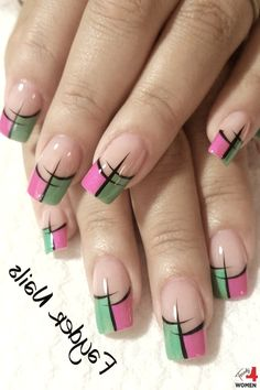 Beautifully combined # beautiful - # beautiful - - Home interior design - Nail Tip Designs, Fingernail Designs, French Nail Designs, Acrylic Nail Designs, Organic Nails, French Tip Nails, Cute Acrylic Nails, Elegant Nails, Green Nails
