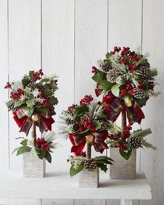 Новогодние деревца-топиарии (композиции на шариках из пенопласта decor-doma.ru/...)