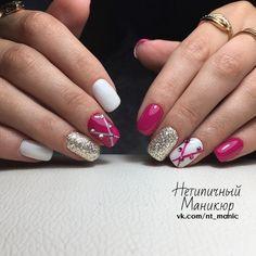 Нетипичный Маникюр Love Nails, Pretty Nails, My Nails, Fingernail Designs, Cool Nail Designs, Mani Pedi, Manicure And Pedicure, Rhinestone Nails, Nail Tutorials
