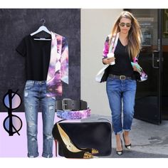 """""""Icon blazer & Phoebe tee in black"""" by madaboutbasics on Polyvore"""