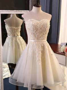 Prom Dresses For Teens | Creamy tulle short prom dress with  3D appliques #prom #dresses #promdress #promdresses