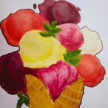 ORIGINAL Ice-cream in a Waffle Cone Acrylic Painting   Etsy Waffle Cones, Waffles, Ice Cream, Vegetables, The Originals, Shop, Painting, No Churn Ice Cream, Icecream Craft