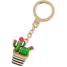 Kate Spade New York jeweled striped cactus key fob ($68) ❤ liked on Polyvore featuring accessories, multi, key fob chain, kate spade key chain and kate spade