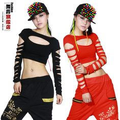 New Fashion dance hip hop short top female Jazz cutout costume performance wear vest Black Red  Sexy Hollow out costumes shirt