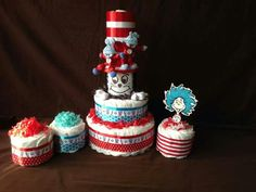 Diaper cake & mini diaper cakes-all by Bumble Bee Creations (will be posting photos of all the beautiful details!)