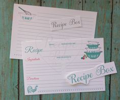 Vintage inpsired Recipe Cards. PDF - Print yourself For personal use only. https://www.etsy.com/listing/267258993