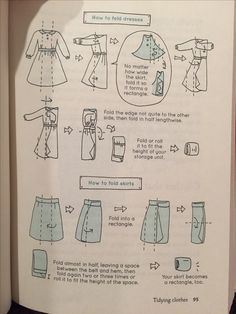 KonMari How to Fold dresses and skirts. Many delicate fabrics necessitate hanging, but good information of packing a suitcase!