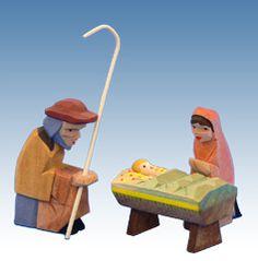 Mary, Joseph, and Jesus Nativity Set, Hand-carved, Helbig Workshop
