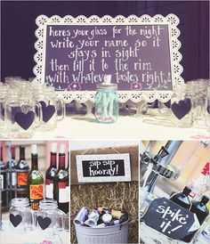 Cute drink sign with mason jars with hearts. Captured By: Sarah Murray Photography ---> http://www.weddingchicks.com/2014/05/13/quirky-budget-friendly-wedding/