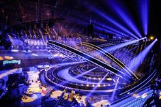 Eurovision 2018 lisbon is set for the contest; the stage is ready to go! esctoday com eurovision 2014 drinking game eurovision drinking game Stage Lighting Design, Stage Set Design, Bühnen Design, Light Design, Karaoke, Concert Stage Design, Scenic Design, Las Vegas, Photography Backdrops