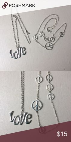 Peace and Love Necklace Set Two beautiful silver colored necklaces. Go great together or separate. Bright and shiny. Accessories