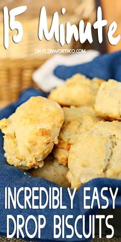15 Minute Drop Biscuits are an easy homemade biscuit recipe that is perfect for every dinner. It brings Easy Family Dinner Ideas to a whole new level. Easy Drop Biscuits, Homemade Biscuits Recipe, Biscuit Recipe, Dinner Recipes Easy Quick, Easy Bread Recipes, Quick Easy Meals, Savoury Recipes, Easy Dinners, Best Bread Recipe