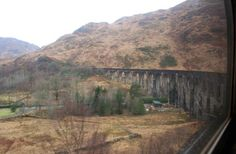 Train travel from London to Scotland; The famous Glenfinnan Viaduct, as featured in the Harry Potter films