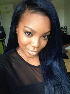 New hair extensions blue black ideas African Hairstyles, Weave Hairstyles, Straight Hairstyles, Cool Hairstyles, Black Hairstyles, Hair Color For Dark Skin, Dark Blue Hair, Dark Purple, Burgundy Hair